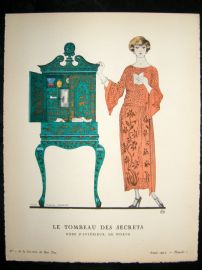 Gazette du Bon Ton by Barbier 1922 Art Deco Pochoir. Le Tombeau des Secrets